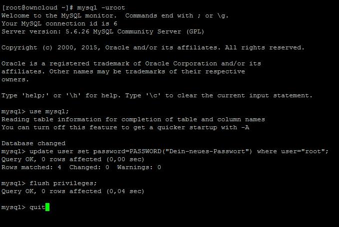 Mysql Root Passwort Vergessen